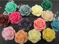 21mm Free Shipping 100 pcs/lot mixed colors Rose Flat Base Resin Flower Jewelry Beads DIY Finding Accessory,Phone Accessories