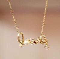 Korean Fashion Design Bijoux Jewelry Cheap Chic Gold/Silver Letter LOVE Word Pearl Pendant Sweater Chain Long Necklace Women!JC