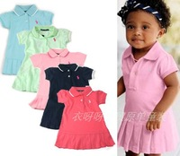 2013 New Arrive Baby Girls Polo Dress Kids Cotton Turn-down Collar Solid Ruffle Hem Circle Dress Children Sport Summer Dress