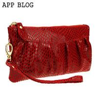 App blog2013 women's day clutch cowhide clutch women's handbag cosmetic small bag