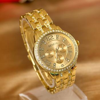 Top Sale! GENEVA Stainless steel Watch Women Dress Watches Women reloj Quarzt Wristwatch relogio feminino