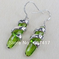 Fashion 925 Silver Peridot Cubic Zirconia Casual  jewelry Earrings R820