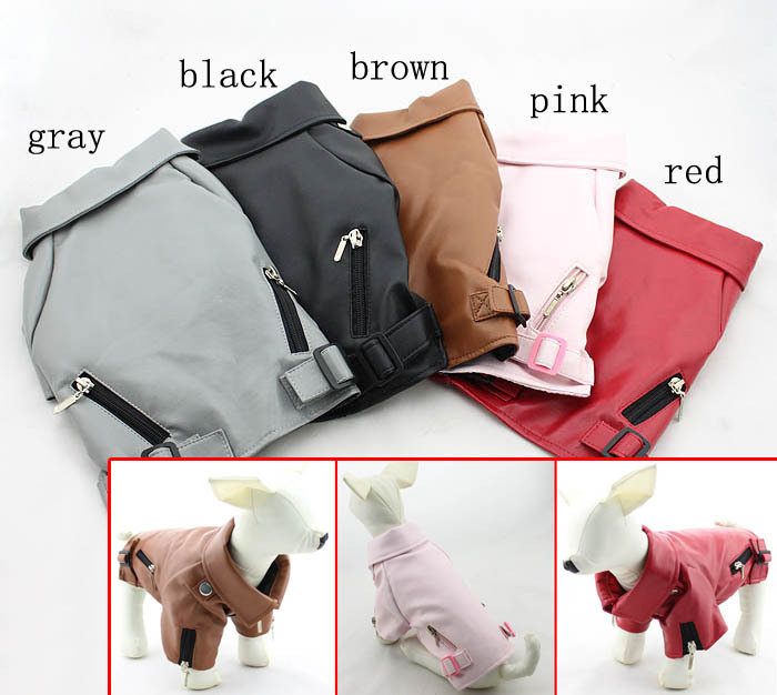 Pet clothes dog clothes leather clothing leather jacket autumn and winter 5 cool(China (Mainland))