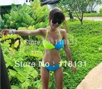 Sexy dazzling neon color small steel push up swimwear mimi big bikini hot spring swimsuit free shipping