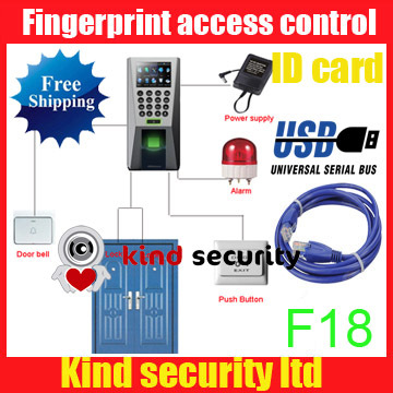 Free shipping ZKsoftware TCP/IP F18+ID Fingerprint & RFID card Time Attendance and Access Control Terminal(China (Mainland))