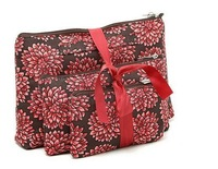 H1615 RR Rachael  Set of 3 Insulated Pouches Cosmetic RED FLOWER Storage Bag Free shipping wholesale drop shipping J13
