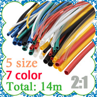 140pcs 7color Assortment 2:1 Heat Shrink Tube Tubing Sleeving Wrap Wire Cable Kit