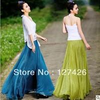 2013 Spring New Fashion Chiffon Gypsy Long Skirts Bohemian Pleated Summer Boho Maxi Skirt 13colors+Free Shipping~