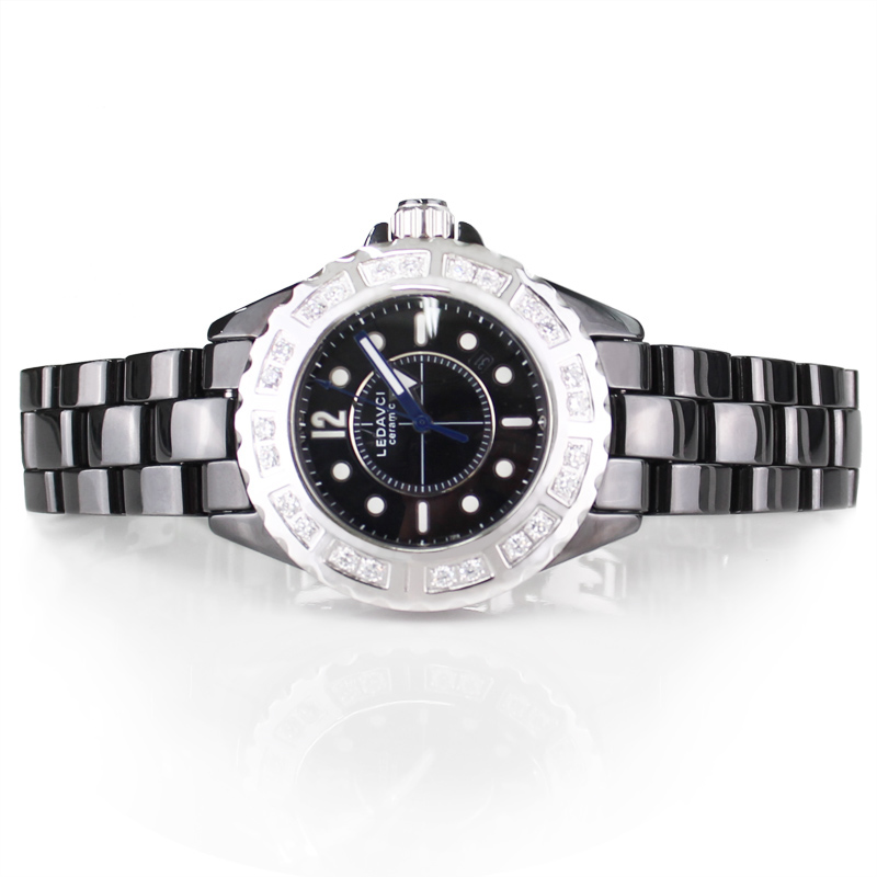 Free Shipping Leda fine watches 24 rhinestone sheet ring blue luminous ceramic waterproof watch(China (Mainland))