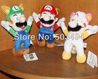 "Free Shipping EMS 100/Lot Super Mario Brothers Plush - 9"" Raccoon Tanooki Mario / Kitsune Fox Luigi / White Racoon Fire Mario"
