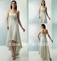 WATCH!Free shipping!Beach style applique front short long back informal wedding dress HS034