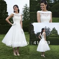 WATCH!!!Free shipping!Princess summer jewel neck organza lace tea length beach wedding dress HS032