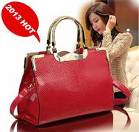 2013 latest fashion design women's handbag alligator pattern leather handbag totes ladies' brand designer handbag free shipping