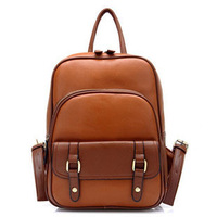 Vintage fashion preppy style backpack for high school students school bag travel PU men and women bags travel backpack
