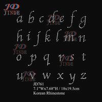 Free shipping 20pcs/lot Iron On Rhinestone Motif Sheet Of Alphabet Letters Diamante Transfer Hotfix Gem