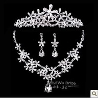 Free Shipping!Silver Crystal Bridal hair accessories wedding Crown and tiaras necklace earrings sets fashion jewelry SJ050