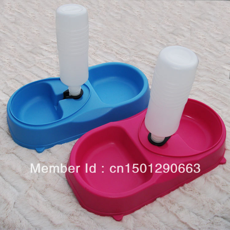 Pet supplies dog double bowl teddy dog bowl double dish auto feeding pet water dispenser with bottle(China (Mainland))