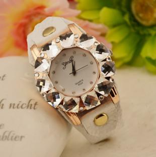 Free Shipping Watch fashion genuine leather watchband full rhinestone diamond watch crystal table watch W130188(China (Mainland))