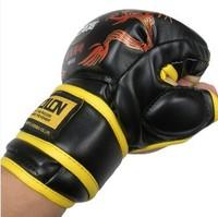 Dragon grain boxing gloves mittens glove half fingers glove sanda boxing gloves adult set play sandbags