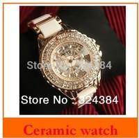 2013 new fashion daimond wristwatch ,women ladies beautiful ceramics watch with rhinestone. luxury watches.