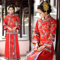Costume pratensis show chinese style dress the bride wedding clothes evening dress kimono long design bride suit