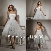 WATCH!Free shipping!Pretty strapless sweetheart lace summer beach wedding dress HS038