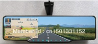 free shipping.Newest capacitor Touch Screen car Rearview mirror+GPS+Bluetooth+maps+radar detector+parking radar