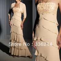 2013 Champage Chiffon Lace Applique Mother of The Bride Dress With Jacket