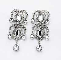 2013 New Fashion Big Brand Design Vintage Clear Crystal long Drop Earrings Rhinestone Jewelry  For Women Free Shipping