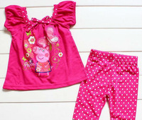 2013 5sets/lot Girls Sleeveless Summer clothing set Dotted Peppa Pig Blouses +Shorts FT-31