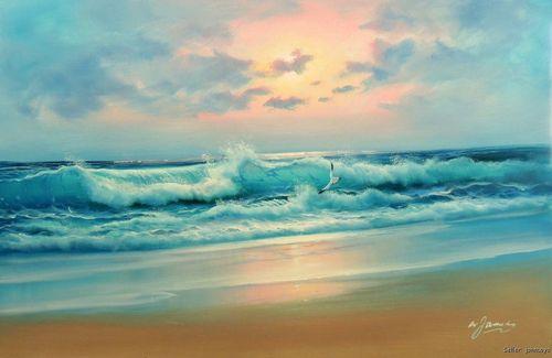 Verde azul mar do caribe Surf ondas praia do oceano rosa do por do sol pintura 24 X 36 óleo(China (Mainland))