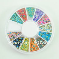 Free shipping 3D Feather Fimo Nail Art Decoration Wheel