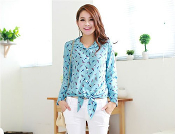 ASYMMETRIC LONG SLEEVE TURN-DOWN COLLAR BIRD PRINT BLOUSE SHIRT WITH STUDS-Free Shipping(China (Mainland))