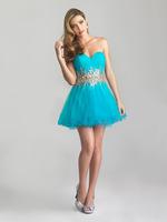 Free Shipping Sweetheart Waistband Shunning Beadings Knee High Turquoise Graduation Dresses