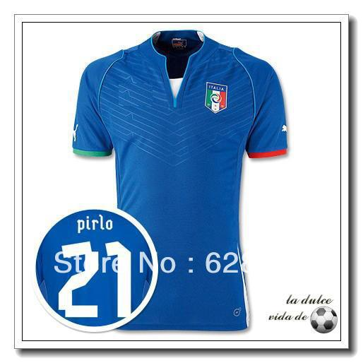 New Arrival 13/14 2013/2014 italy home italy blue soccer jerseys uniforms #21 PIRLO(China (Mainland))