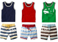 5set good quality !! 2013 Summer fashion girl boys suit cotton letter vest + striped shorts pants suit  brand name clothes .