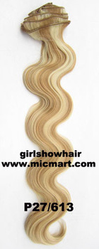 1set heat resistance synthetic fibre clip in on hair extension body wavy 12pcs/set  130grams P27/613