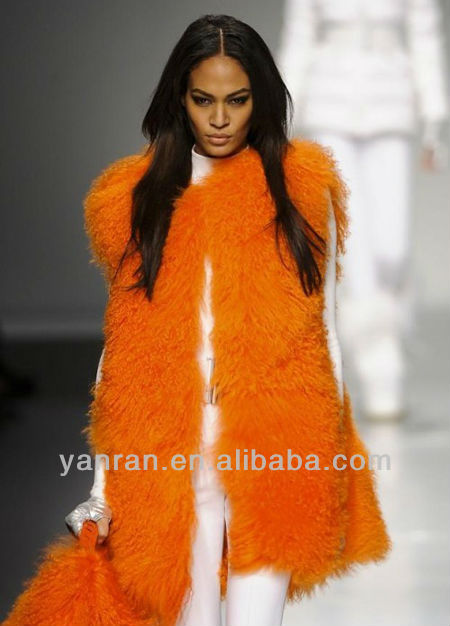 Free Shipping YR-861 New Arrive Real Mongolia Lamb Fur Long Vest ~Customized~Retail~Factory direct sale(China (Mainland))