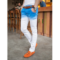 Light blue color jeans male dip dyeing elastic skinny jeans male the trend slim trousers