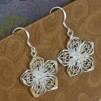 E035 Wholesale 925 silver earrings, 925 silver fashion jewelry, Flower Earrings /atgajknasb