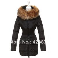 2013 autumn and winter fur collar luxury oversized slim medium-long formal down coat female