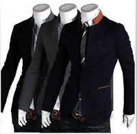 2014new spring button hit color characteristics of men's leisure suit jacket collar/men's blazers coat