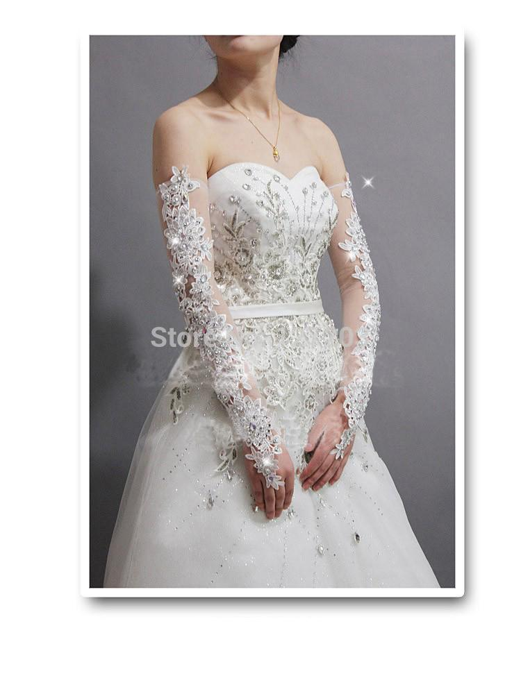 2014sexy gorgeous bride slimming sparkling diamond lace wedding dress gloves long design sexy transparent lucy refers to gloves(China (Mainland))