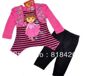 New Arrival 2013 Autumn Spring  Girl Clothes 2Pcs  Lovely Dora Cartoon Children Sets Longsleeve Shirt+Legging Brand Kids Outfit