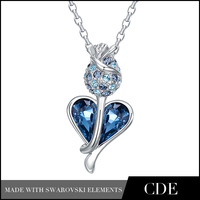CDE Flower Rose Jewelry Turquoise Crystal Statement Heart  Necklace Made With Swarovski Element P0317