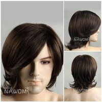 Free shipping 100% Kanekalon men full wigs/artistic men dark brown Curly wigs for men/Hot-selling boy synthetic hair wigs