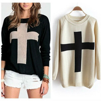2013 spring personalized cross solid color pullover sweater outerwear thermal basic sweater for women free shipping WZM038