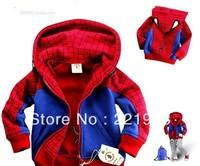 Children Spiderman Style Hooded Coat, Boys Cartoon Jacket, Kids Garment