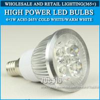 10PCS/lot High power led Bulb Lamp lights E14 4W 4*1W 5W 5*1W AC85-265V Warm White/Cold white Free Shipping