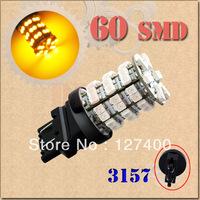 2pcs 3156 3157 P27/7W T25 Amber / Yellow 60 SMD Stop Tail Brake Turn 60 LED Car Light Bulb Lamp